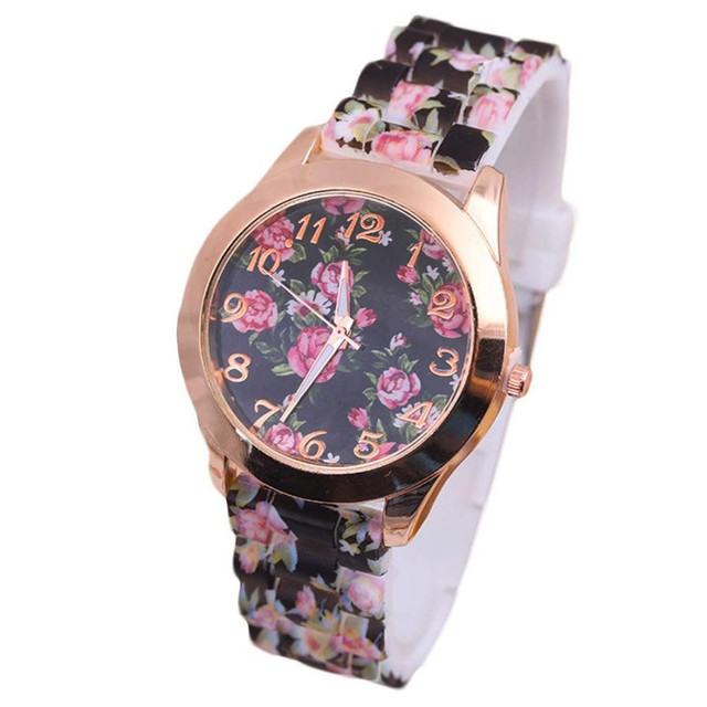 Montre femme Women Leisure Time Rose Analog Silica Gel Wrist Watch Simple casual