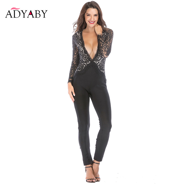 cdd26b7f3a55 Black Lace Jumpsuits For Women 2018 New Arrivals Long Sleeve Sexy Deep V  Neck Bodycon Jumpsuit Ladies Celebrity Rompers With Bow