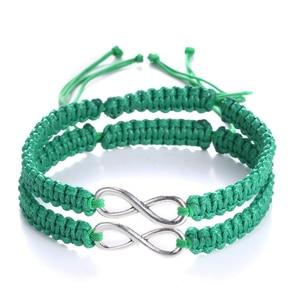 Модный браслет для пары, браслет для влюбленных, плетеные браслеты ручной работы для девушки, бойфренда, женские и мужские ювелирные издели...