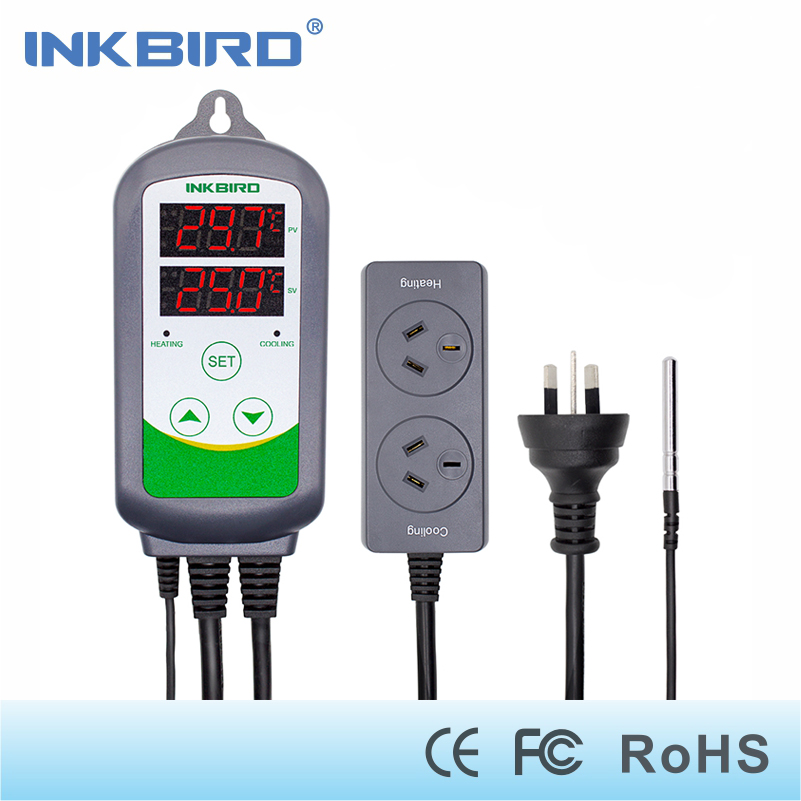 Inkbird AU Plug Digital Temperature Controller Outlet Thermostat ITC 308 Heating and Cooling Dual Relay For