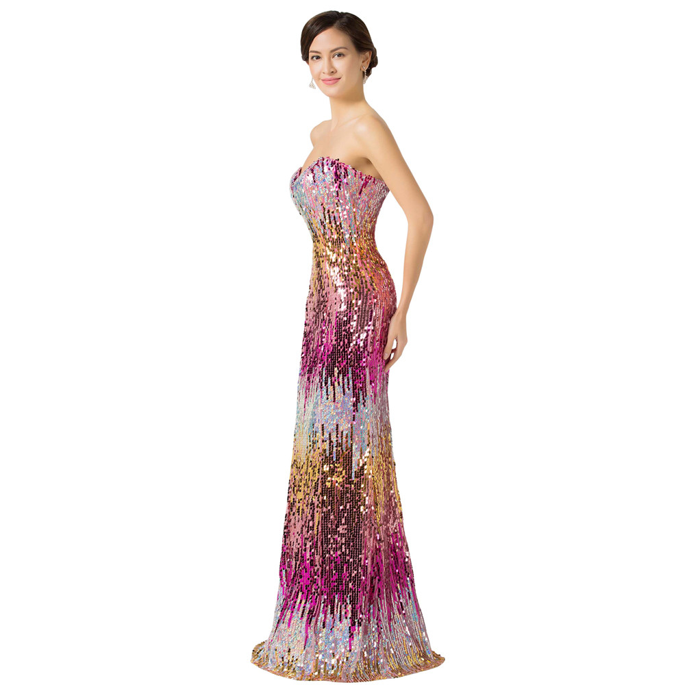 Sweetheart Colorful Sequins Lace Evening Dress 8