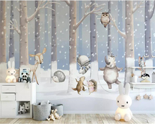 Купить с кэшбэком beibehang Custom 3d wallpaper mural Children's room winter snow scene cartoon animal world background wall paper mural wallpaper