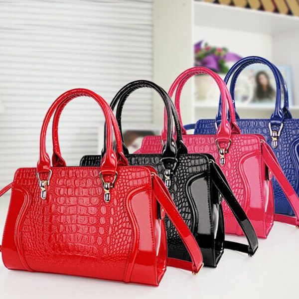 ФОТО Married bag women's handbags New Design candy red handbag wholesale Shoulder fashion patent Leather Crocodile free shipping