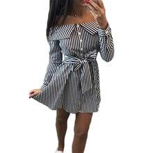 Black Striped Long Sleeve Shirt Summer Dress Women 2019 Sexy Slash Neck Off Shoulder Wrap Mini Dress Vestidos недорого