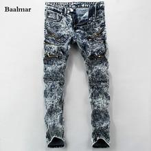 European American Style Fashion Brand Cotton Men Jeans Luxury Men's Casual Denim Trousers Hole Zipper Blue Jeans For Men Spring