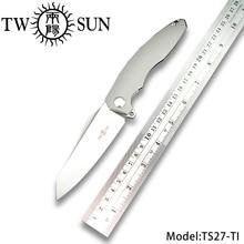 TwoSun D2 blade folding knife Pocket Knife tactical knives hunting camping Outdoor tool EDC Ball Bearings Titanium Zenith TS27