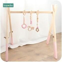 Bopoobo-1 ensemble d'accessoires classiques en bois | Pour bébé, jeu-hochet, cadre de jouet, décor pépinière, jouet sensoriel Montessori