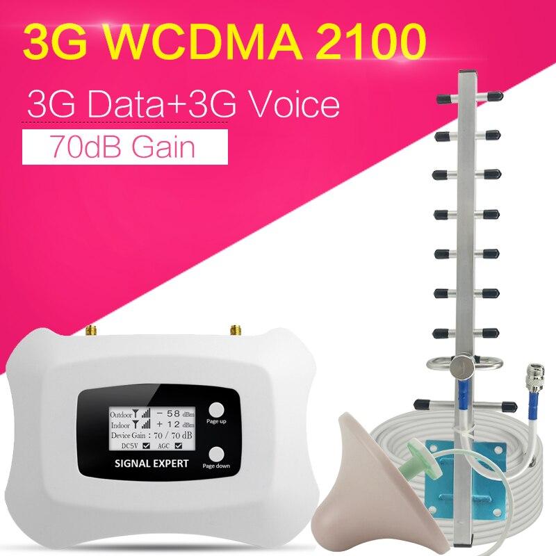 Répétnet 3G WCDMA 2100 amplificateur de Signal de téléphone portable bande 1 3G WCDMA répéteur de Signal 70dB Gain affichage LCD AGC ALC 3G Booster