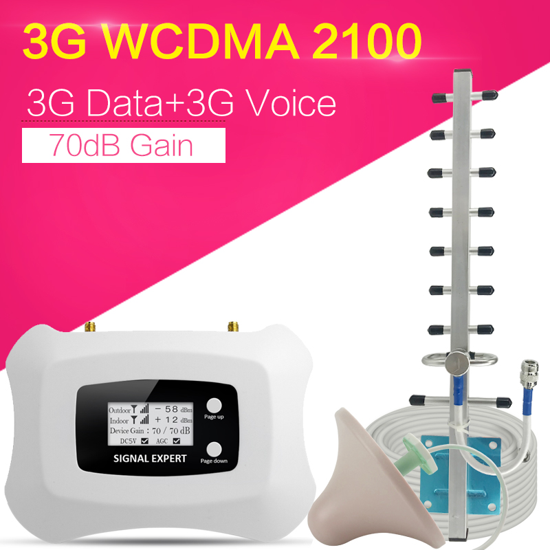 Walokcon 3G WCDMA 2100 Cell Phone Signal Amplifier Band 1 3G WCDMA Signal Repeater 70dB Gain LCD Display AGC ALC 3G Booster