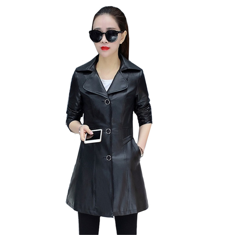 Black Suit collar PU   leather   Jacket Coat Women Spring Autumn Fashion Slim Outerwear Windproof Rainproof Female   Leather   Jackets
