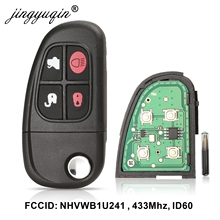 jingyuqin 4 Bottons Car Auto Flip Remote Key for Jaguar X-Type S-Type 1999-2009 XJ XJR 2002-2008 433MHz 4D60 chip NHVWB1U241