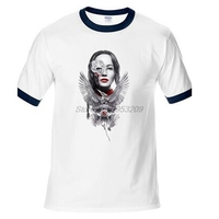 Fresco creativo juegos del hambre Katniss Everdeen camiseta moda verano raglan manga Camiseta 100% algodón top tees