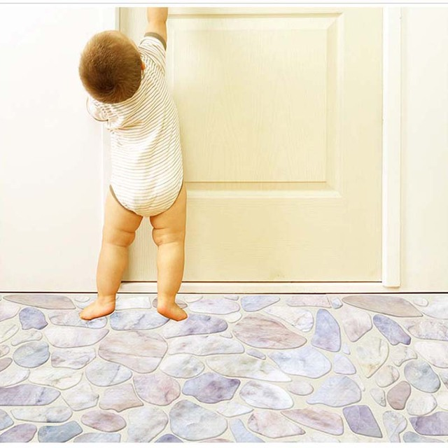 BalleenShiny 60 * 90cm Pebble 3D Floor Wall Stickers For Kids Rooms ...