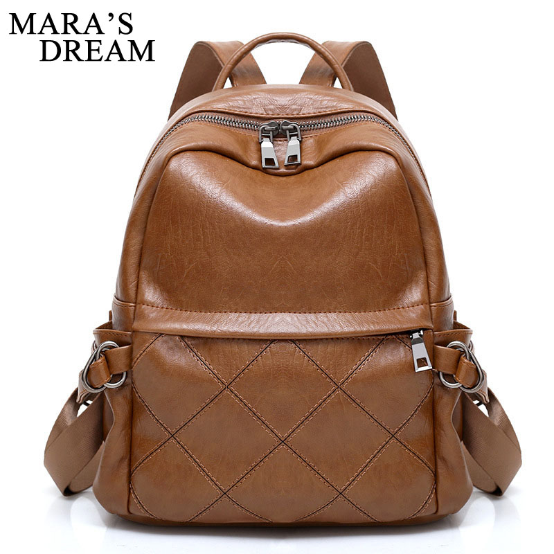 Maras Dream 2018 Fashion PU Leather Women Backpack Female Plaid Solid Backpacks Women Mochila Student Backpack Solid Rucksack