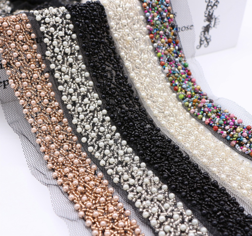 2 Yards Embroidery lace chiffon beaded decoration clothing Jewelry Accessories