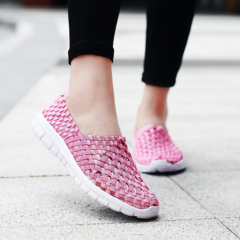 Plus Size Woven Shoes Woman Sport Summer Women Running Shoes Breathable Women's Sneakers Light Weight Sports Shoes Slip On B-328