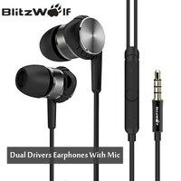BlitzWolf Hybrid 3.5mm Earphones With Microphone Phone Earphone Wired Sport In ear Noise Cancelling Earphones Stereo Bass Earbud