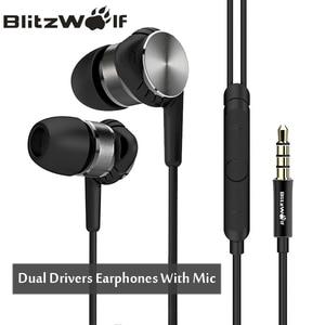 BlitzWolf Hybrid 3.5mm Earphones With Microphone Phone Earphone Wired Sport In-ear Noise Cancelling Earphones Stereo Bass Earbud