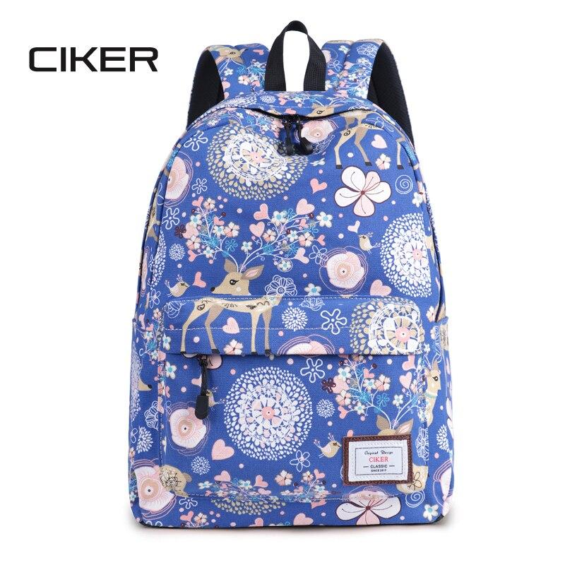 CIKER mignon femmes école sac à dos cerf Animal motif impression grande capacité sac de voyage filles collège Bookbag Mochilas sacs à dos