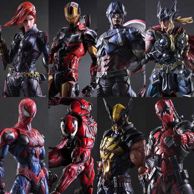 Anime filme Jogar Arts Kai Kai Deadpool spiderman Homem de Ferro Capitão América Venom PA 27 cm PVC Figura de Ação Boneca brinquedos Brinquedos