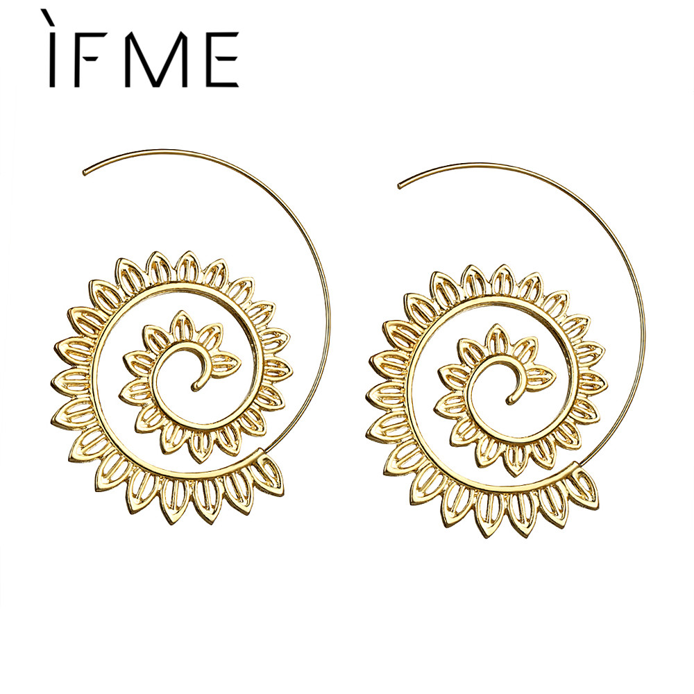 IF ME New Trendy Jewelry Gold Color Round Spiral Stud Earrings For ...