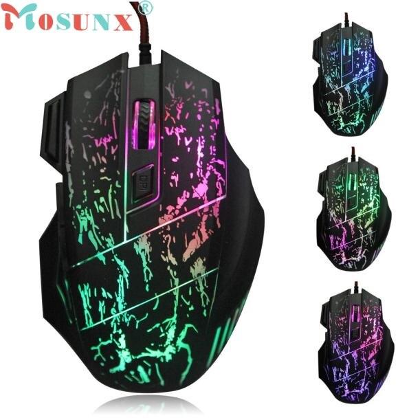 Mosunx Simplestone 5500 dpi Bunte LED Optische USB Wired Gaming Maus Mäuse Für PC Laptop 0109