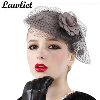 A043 Gray Womens Vintage Fascinator Wool Hair Pillbox Hat Rose Veil Cocktail Party Wedding Wholesale