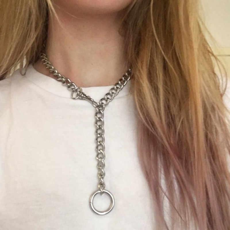 Fajne ręcznie srebrny łańcuch z zamknięciem wisiorek Choker naszyjniki dla kobiet mężczyzn dziewczyna Punk Gothic łańcuchy o-okrągły wisiorek naszyjnik obroża