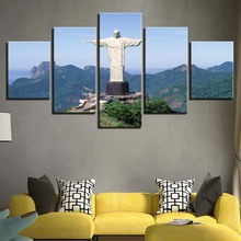 цены Art Pictures Living Room Home Decoration 5 Panel Rio De Janeiro Landscape Modern Wall Posters Framework HD Printed Painting