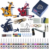 Complete Tattoo Kit 2 Tattoo Machines Gun Black Ink Set Power Supply Grips Body Art Tools Set Tattoo Permanent Makeup Tattoo set