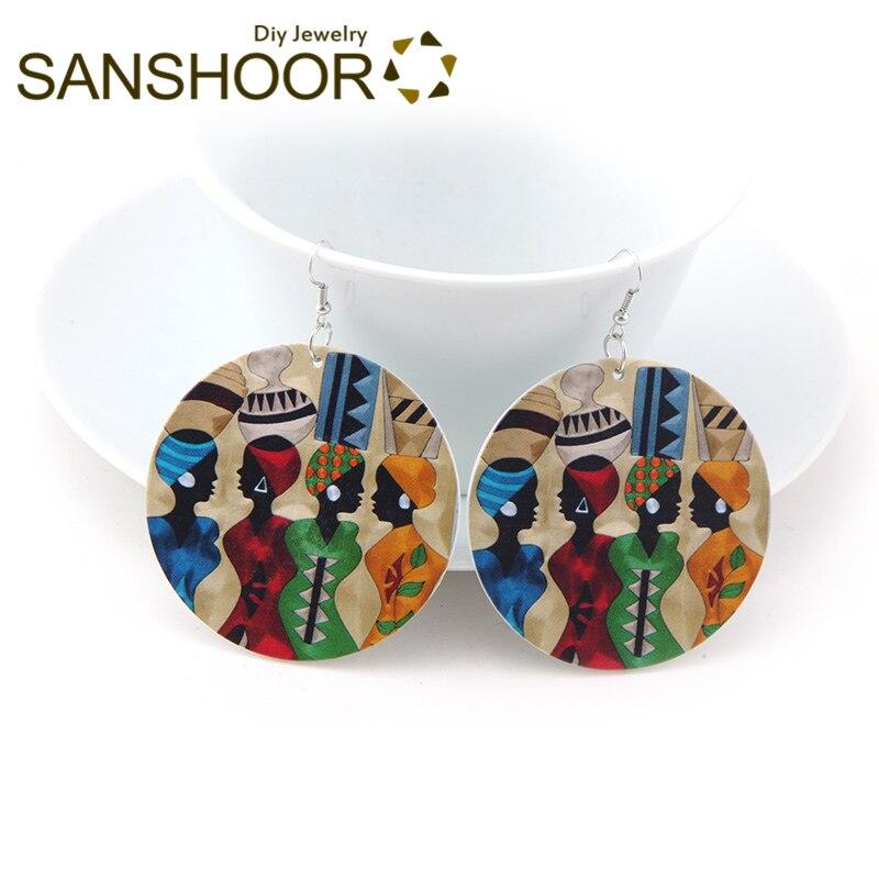 Sanshoor Printed Afro Sister Wooden Dangle Earrings Headwrap Woman Natural Hair For African American Indian Blacks Gifts 1pair Earrings