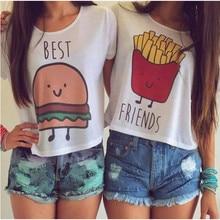 Hot Summer French Fries/Hamburger Best Friends T-Shirts O-Neck Short Sleeve Tops Blouse Vest Tees