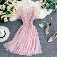 2019 New Fashion French Gauze Dress Wooden Ear V neck Summer Beach Dress Puff Sleeve Pearl Belt A Word Puffy Fairy Dress Women