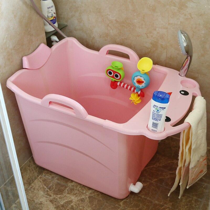 2018Kids Large Folding Baby Bathtub Thickened Vertical Bath Bucket Baby Tubs Bath Wash Cup Shampoo Cup Splashing Cup for Washing