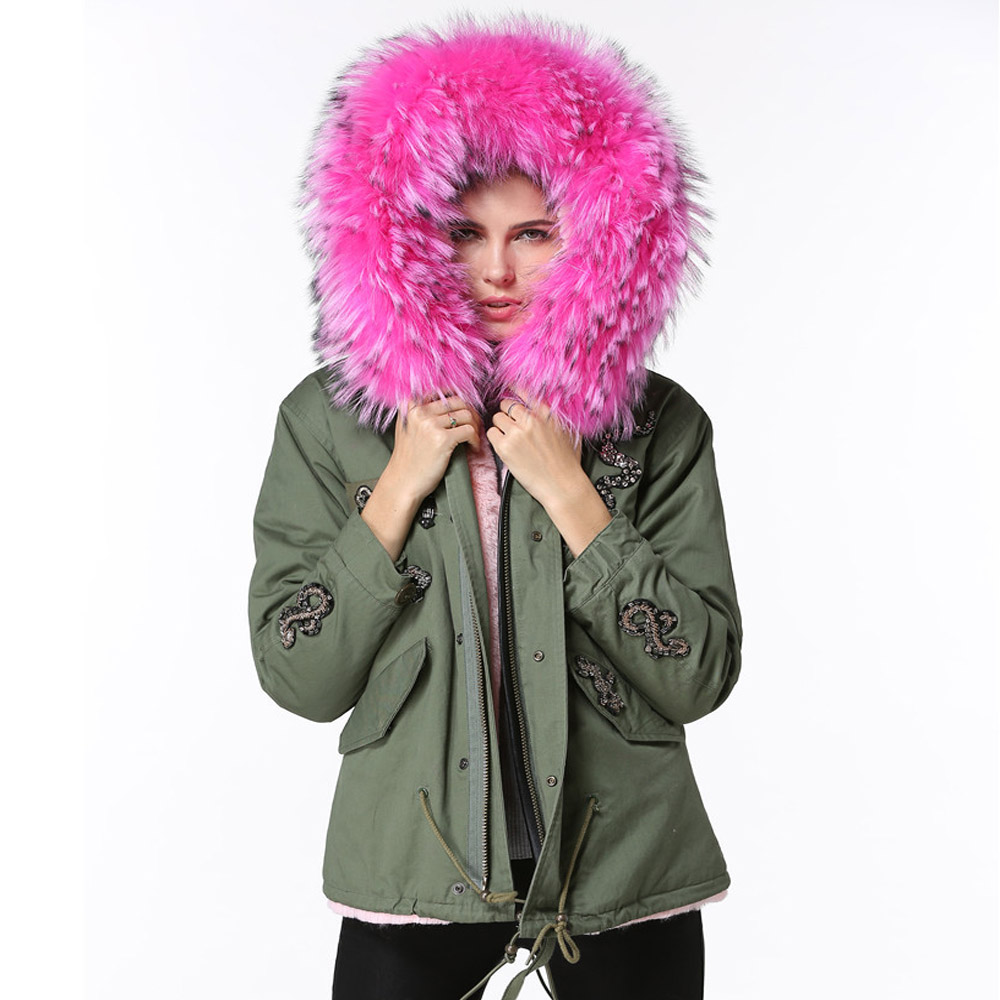 Winter Jacket Women Raccoon Fur Collar Parka Cotton Hooded Coat 2017 Woman Long Sleeves Zipper Thicken Army Green Short Jackets 2017 winter new clothes to overcome the coat of women in the long reed rabbit hair fur fur coat fox raccoon fur collar