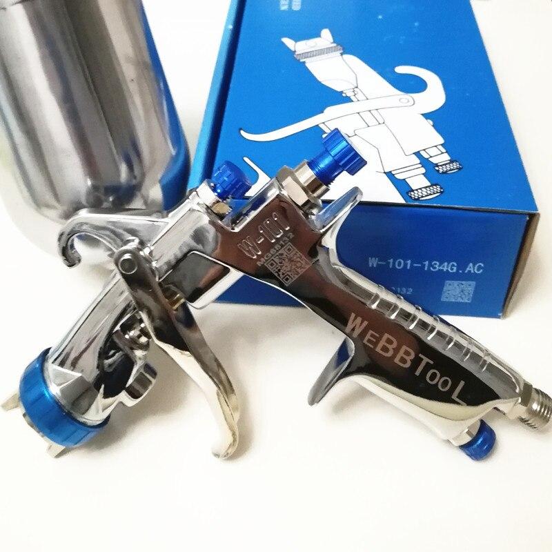 Véritable pistolet de pulvérisation de W-101 qr cod 134G w101 HVLP pistolet de peinture manuel gravité 1.0/1.3/1.5/1.8mm peinture de revêtement de voiture de meubles