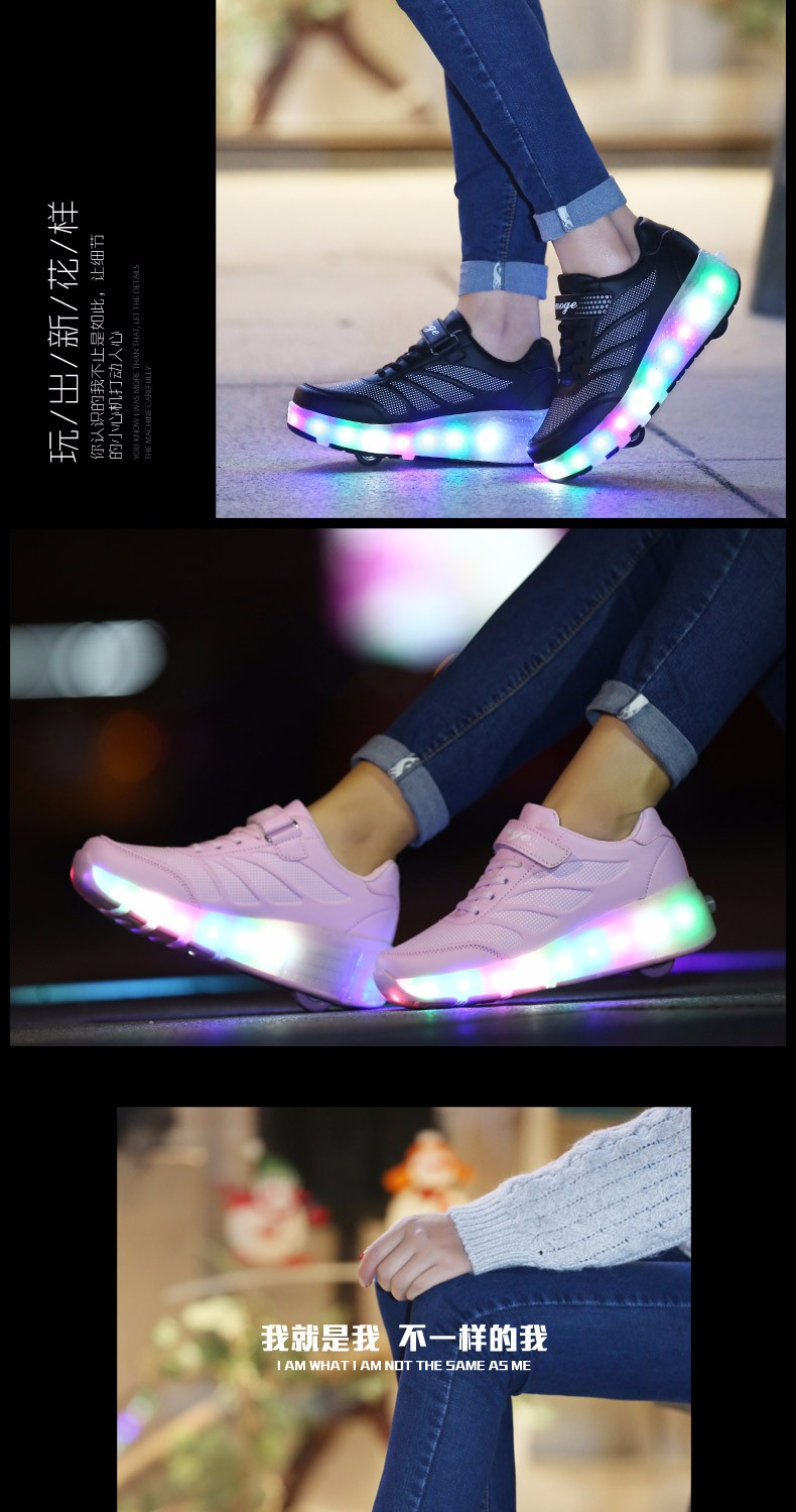 tenis de led infanti Kids Roller Shoes Boys Girls Light Up Glowing Sneakers with Wheels High Quality Popular 1