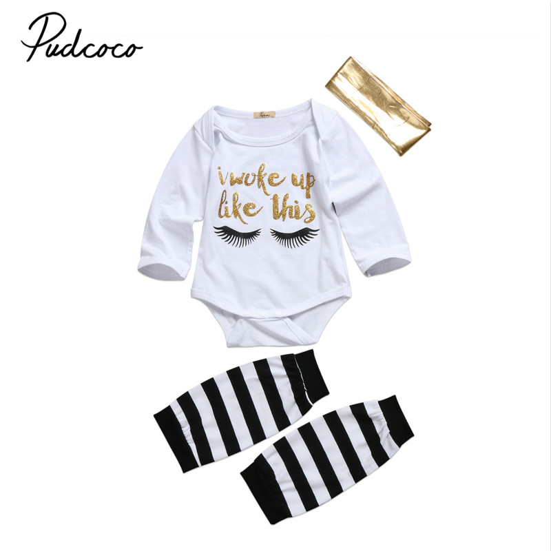 Newborn Infant Baby Girls Clothes Outfits Cotton Eyebrow Print Long Sleeve Bodysuit Tops Pants Leggings Headband 3Pcs Clothing