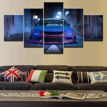 HD Printed Modular Picture Wall Art 5 Pieces Blue Car Mitsubishi Lancer Evolution Sport Painting On Canvas Home Decor Poster