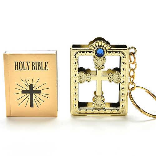 Inglês Mini Bíblia SAGRADA Chaveiro Religiosa Cristã Jesus Cruz Corrente Chave Mulheres Oração Deus Abençoe Presente Lembranças Keyring