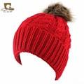 Mujeres niñas Invierno cable Knit Faux Fur Pompones de piel sintética pom pom Beanie Hat