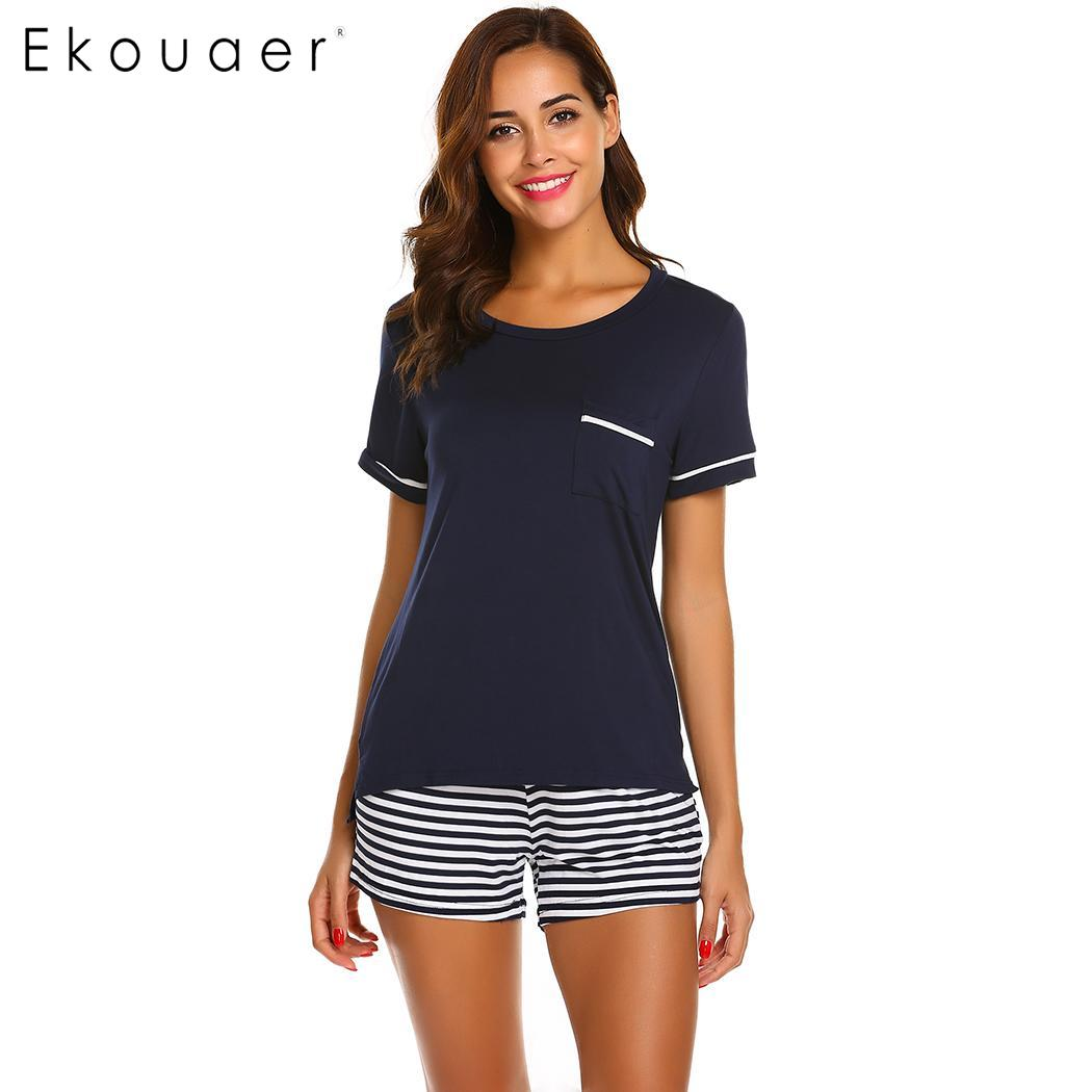 Ekouaer Casual   Pajamas     Set   Women O-Neck Short Sleeve Front Pockets Tops and Striped Shorts Soft   Pajama     Set   Female Homewear Cloth