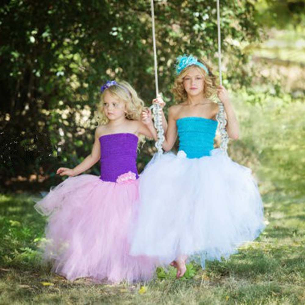 ФОТО 4 Colors Bule White Mint Green Girl Dress For Birthday Party Casual 5Y Flower Girl Tutu Dress for Wedding Party Photo