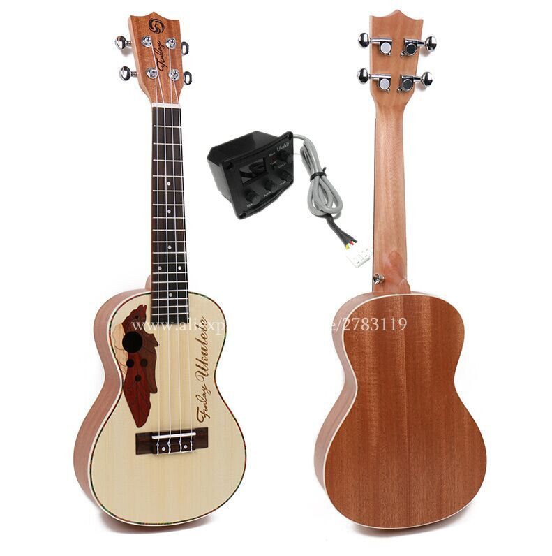 Finlay Free shipping 23 inch ukulele With Spruce Top/Body,Super Electric Concert ukelele Wtih Grape Sound Hole