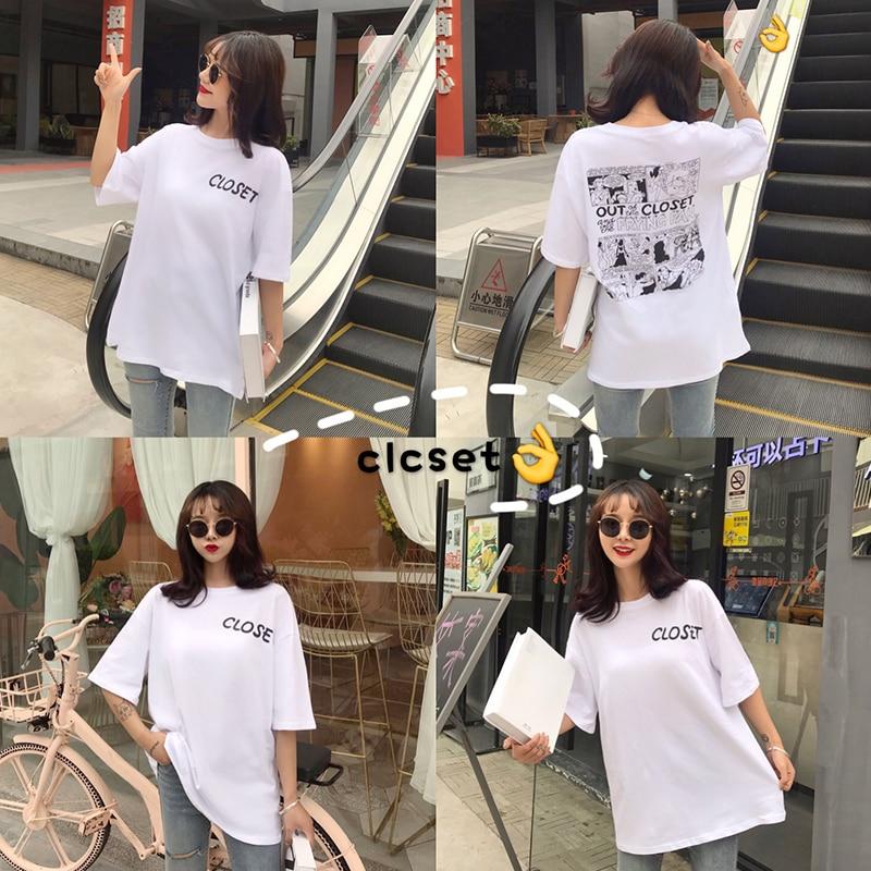 Summer Back Chic Cartoon Printed Women T Shirt Short Sleeve Mid-Long Loose Women Tops Harajuku Fashion T-shirt Pure Cotton