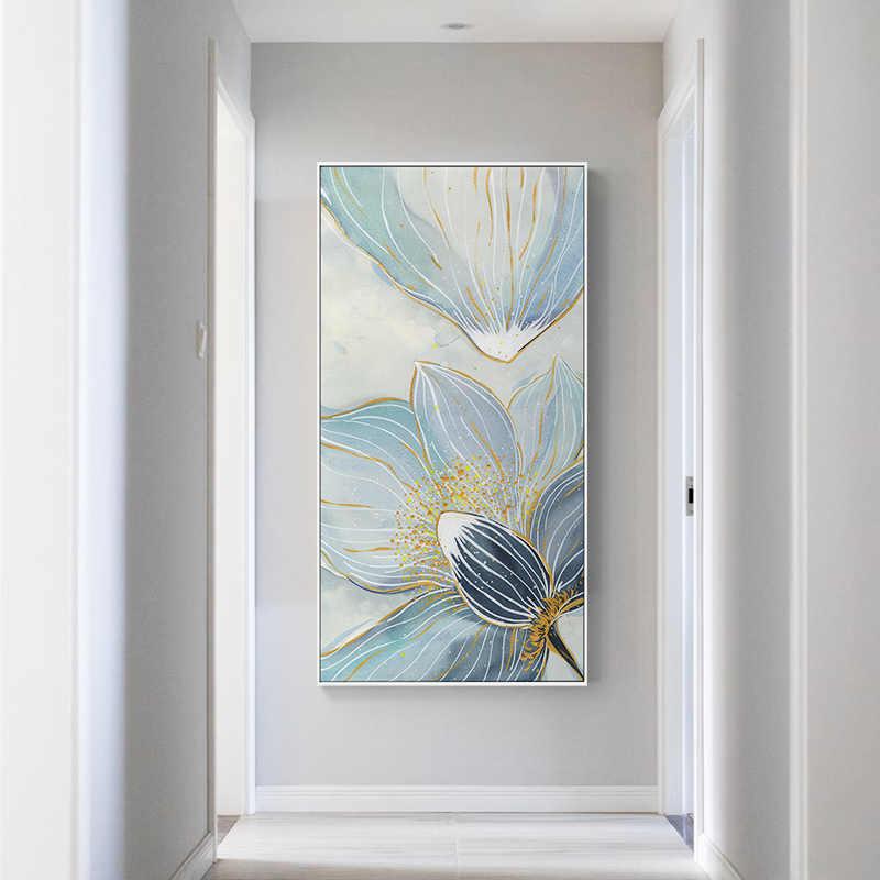New chinese style Creative Blue Lotus Canvas Painting poster Print Beautful Art For Living Room Bedroom wall Picture home Decor