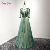 TaooZor Vestido De Festa Green Beading Pearls A Line Tulle Evening Dresses 2017 Appliques Half Sleeve
