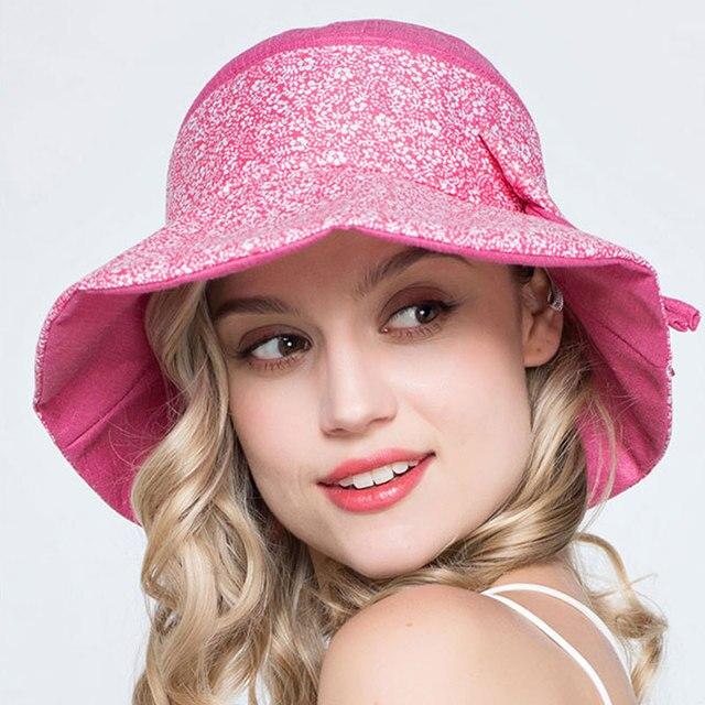 Señora verano sol playa plegable pescador sombreros mujeres moda poliéster  Bowknot del sombrero del cubo 0384df431dc