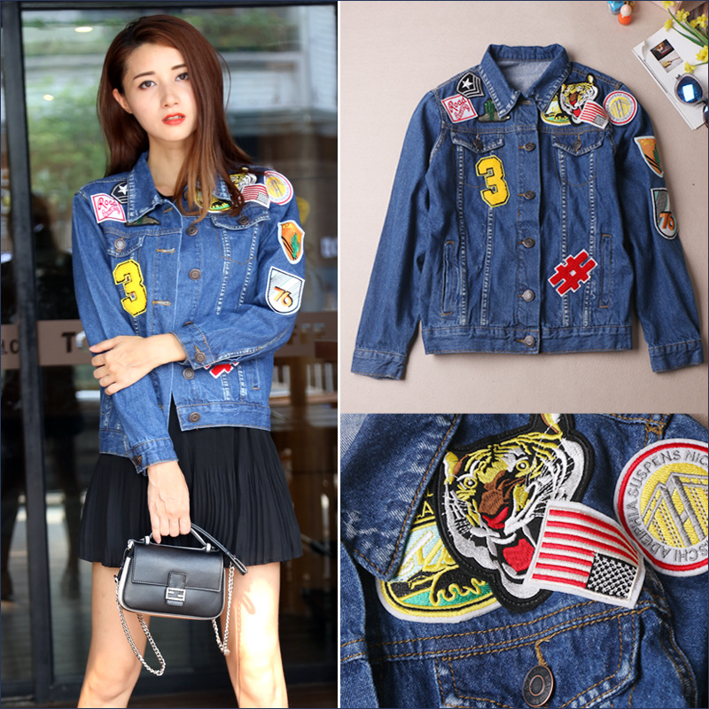 2016 NEW font b Women b font Autumn Vintage Tiger Patch jean font b jacket b