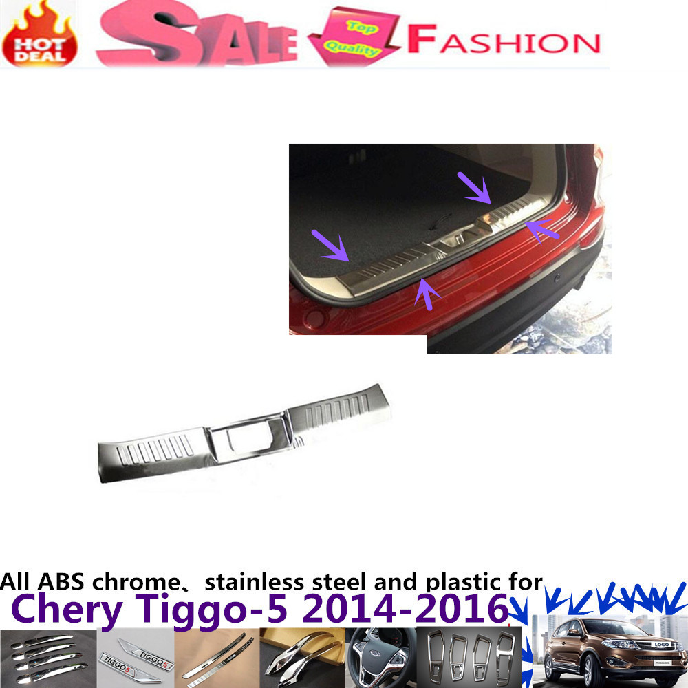 For Chery Tiggo 5 2014 2015 2016 Car body styling cover Stainless Steel Inner built Rear Bumper trim plate lamp pedal 1pcs car styling cover detector stainless steel inner built rear bumper protector trim plate pedal 1pcs for su6aru outback 2015
